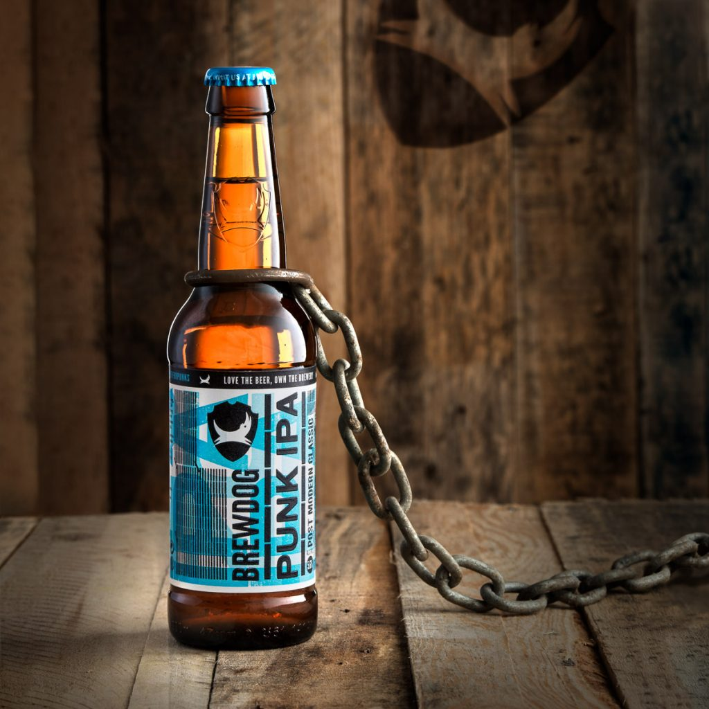 A Photograph of a Brewdog Punk IPA bottle, Styled