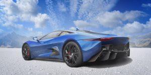 An image of a blue Jaguar car on a salt flat